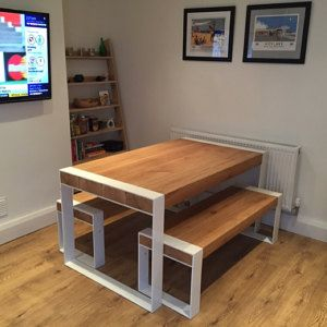 Handmade Dining Table Pure Contemporary Design Steel And Timber