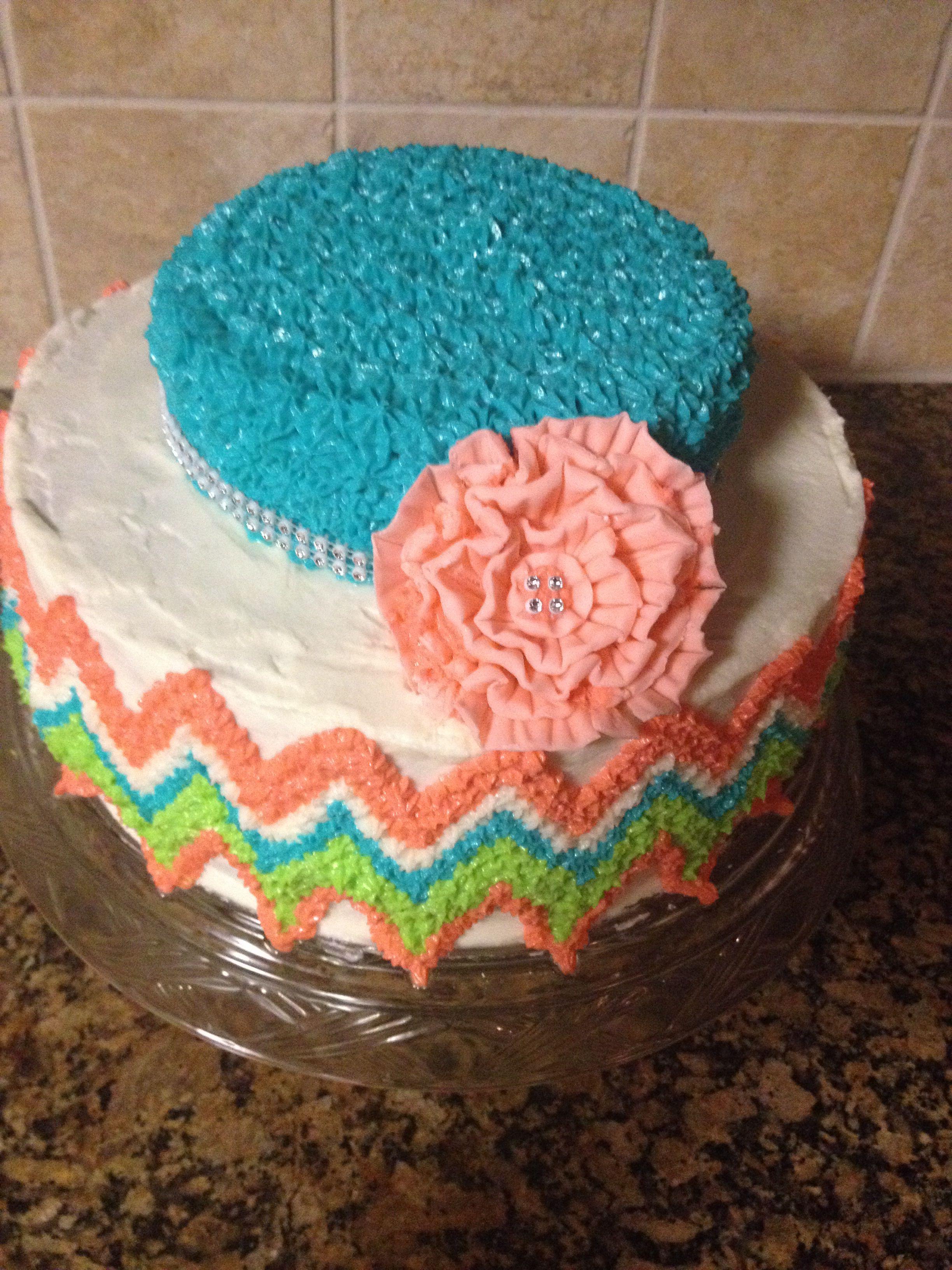 Chevron tiered cake