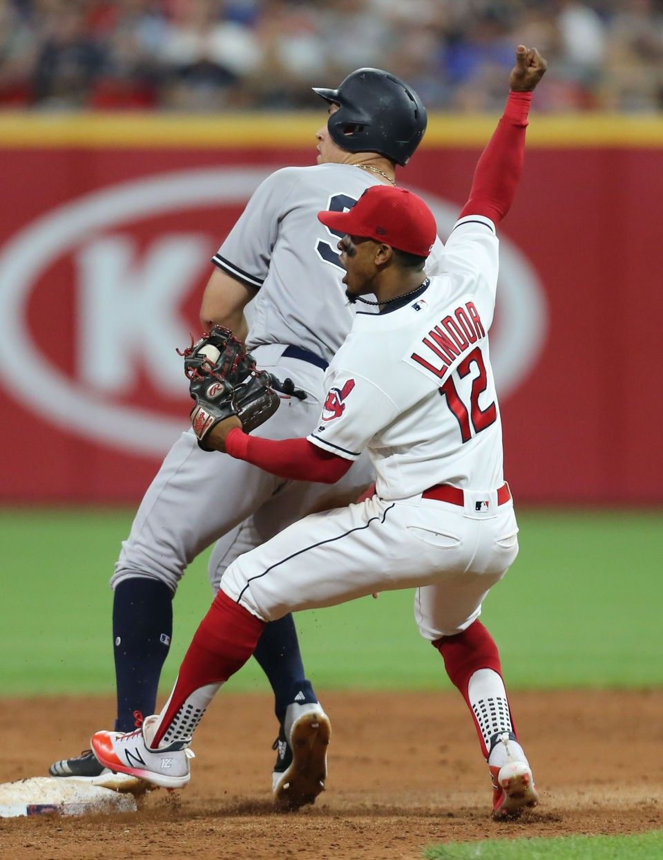 Cleveland Indians Francisco Lindor Reacts To Tagging Out New York Yankees Aaron Judge On A Steal Attempt In The Eigh Cleveland Indians New York Yankees Indians