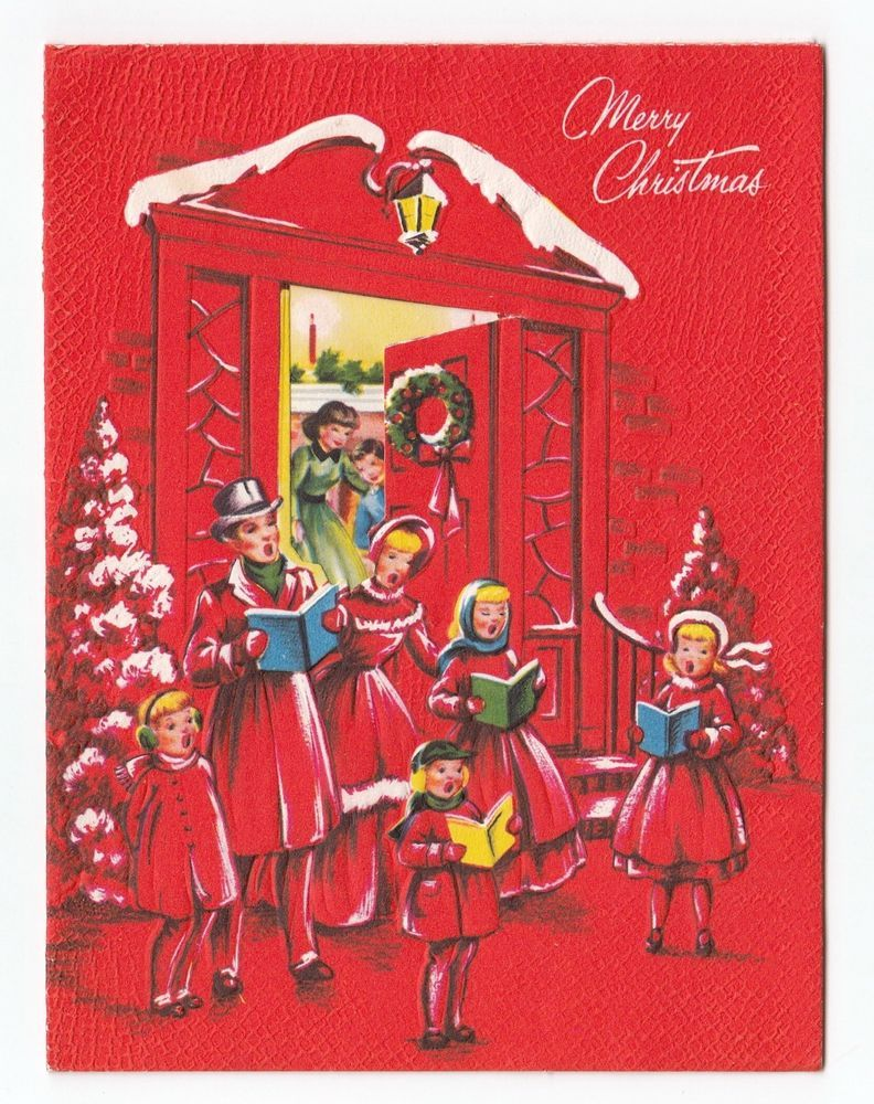 vintage greeting card christmas carolers house open front door family scene merry christmas to all