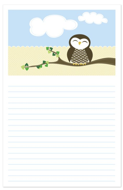 Free Printable Owl Notepaper site has other cute freebies :) |