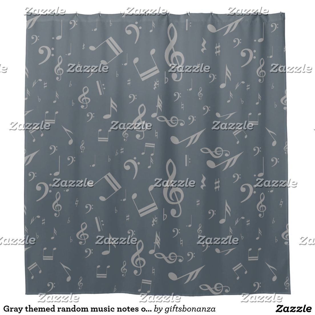 Bring A Touch Of Gray Into Your Bathroom Decor With This Random Gray Music  Notes Designer Shower Curtain Complemented By Calming Cool Gray Stormy  Weather ...