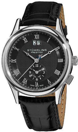 Stuhrling Prestige Men's 364.33151 Prestige Swiss Made Laureate Quartz Dual Time Black Watch Stuhrling Prestige. $184.00