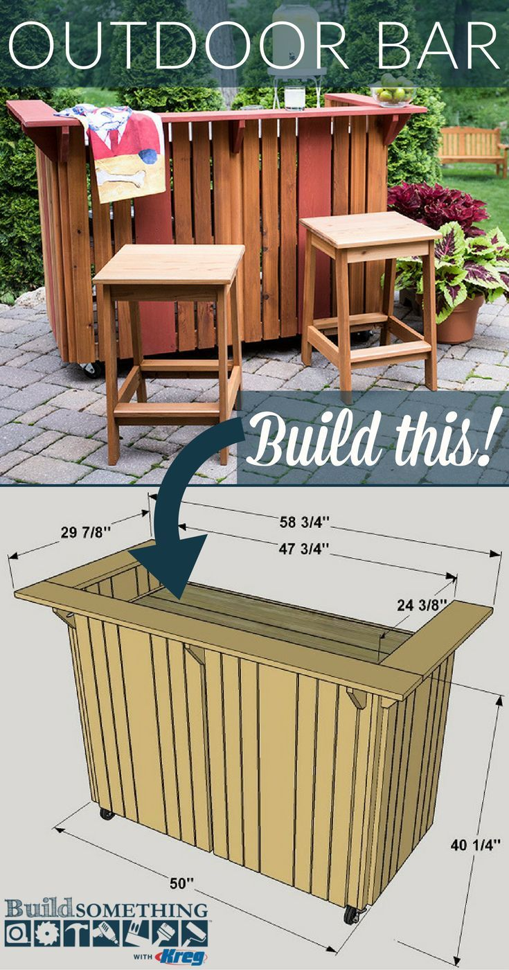Diy outdoor bar free printable project plans at