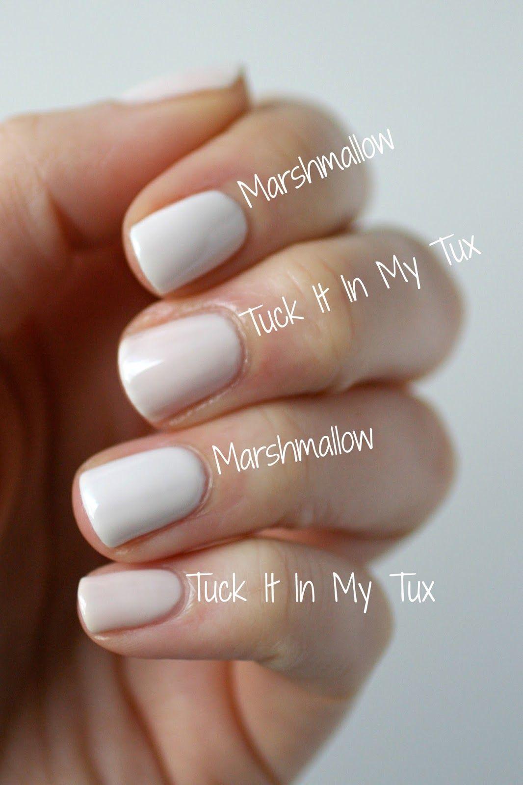 Essie Tuck It In My Tux vs. Essie Marshmallow | Polish Freak ...
