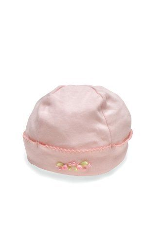 Pink cap with pearls by Baby Biscotti. Available at Hugsandhissyfits.com