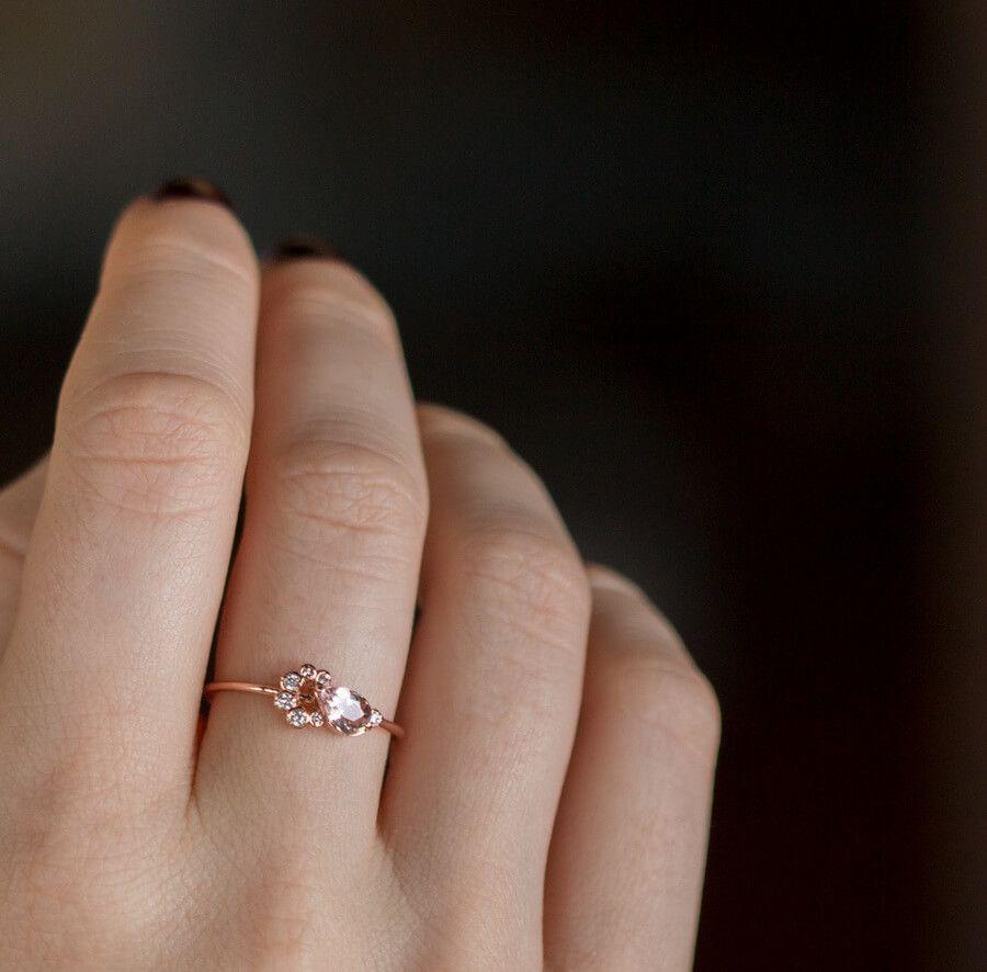2d15265f9ebd1 Blush Pink Morganite and White Diamond Cluster Stack Ring, modeled ...