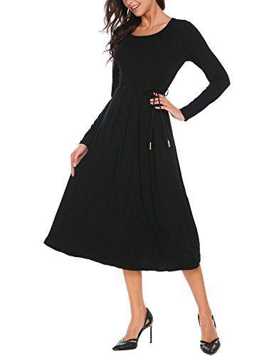 SE MIU Women Long Sleeve Swing Pleated Midi Print Casual Dress SE MIU