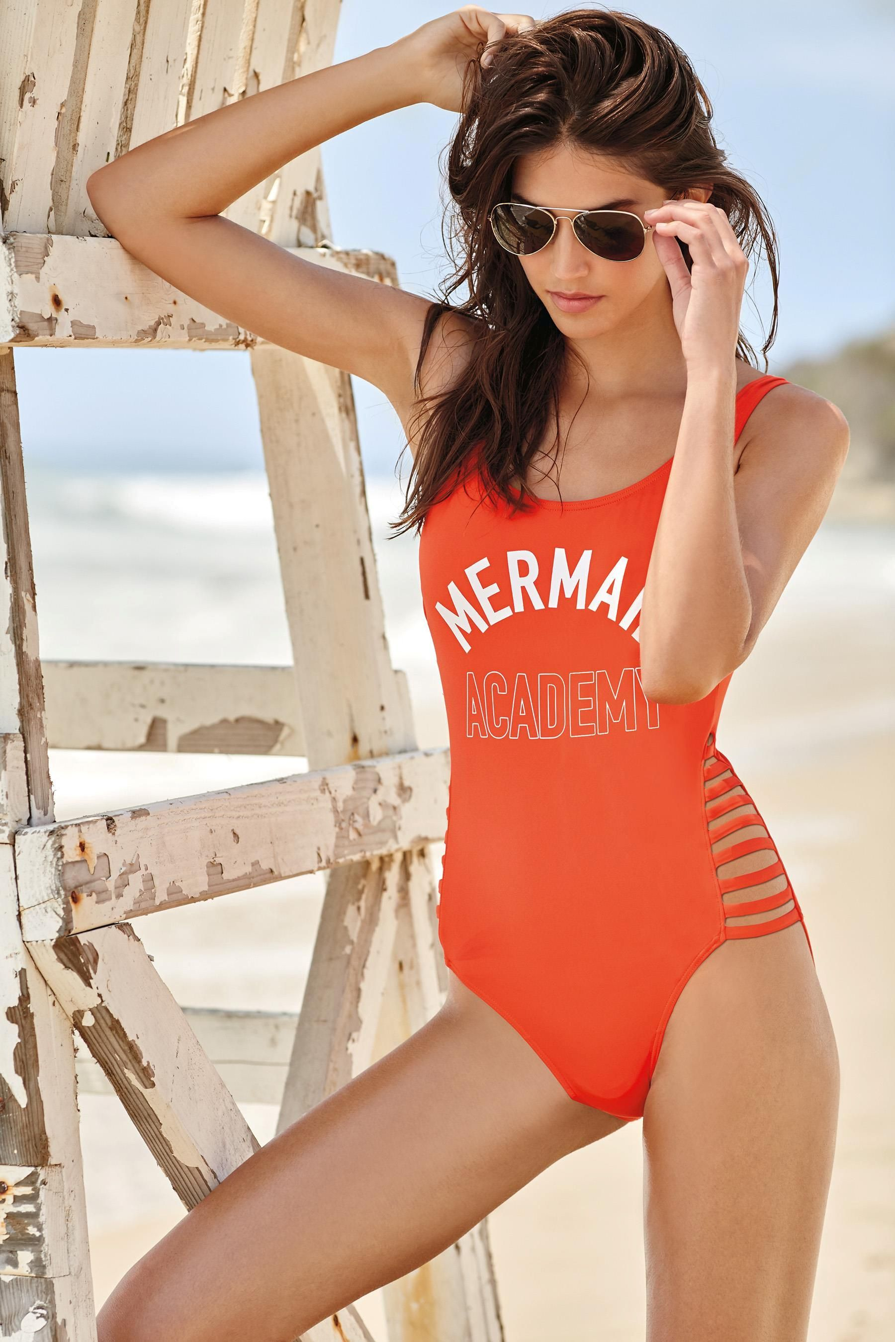 17cfa6736b4f Red Mermaid Slogan Swimsuit from the Next UK online shop