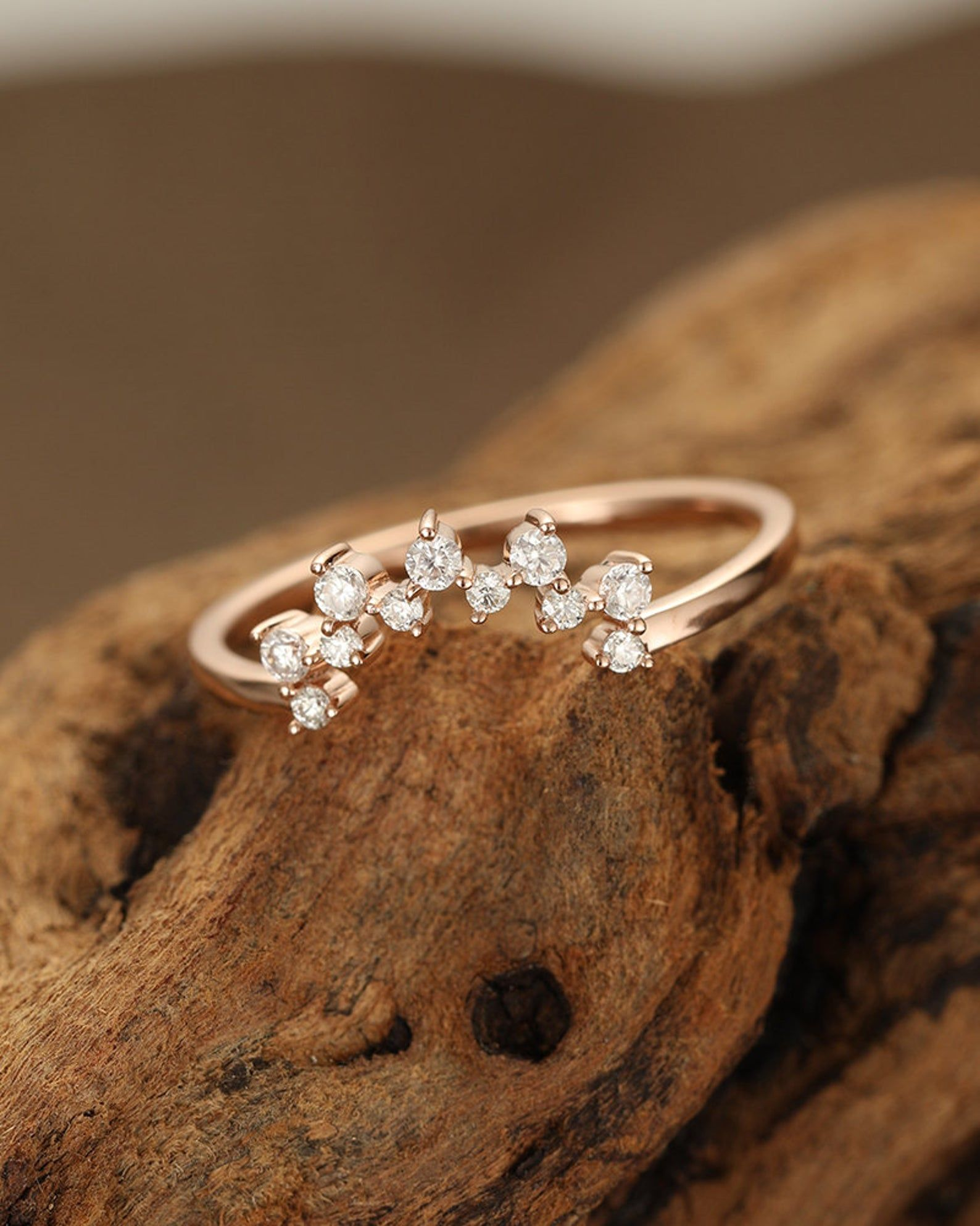 Curved wedding band rose gold wedding band women Unique