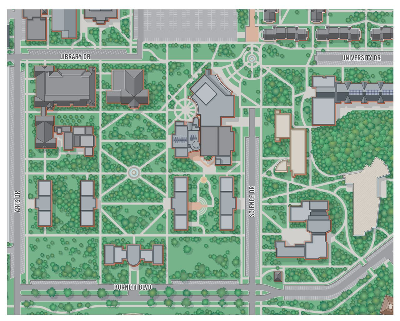 college campus map illustration Armstrong State University | 3D
