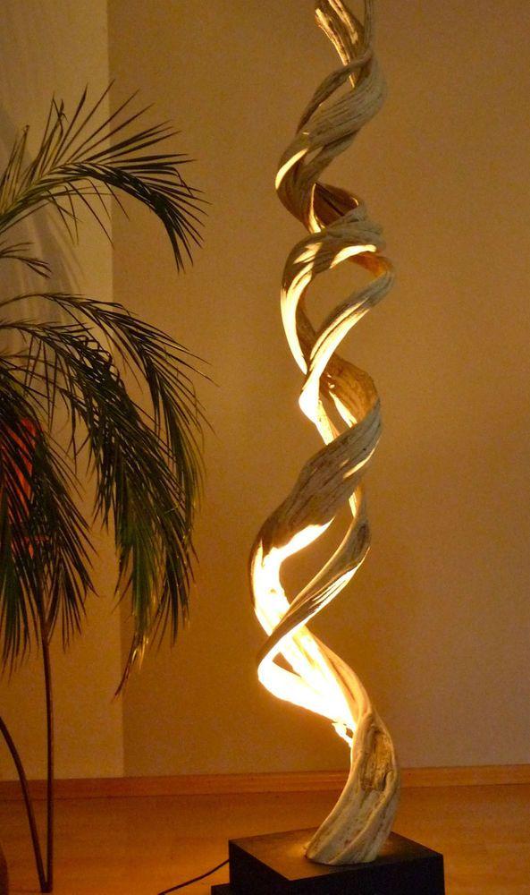 Details Zu Treibholz Lampe Stehlampe Holz Altholz Leuchte