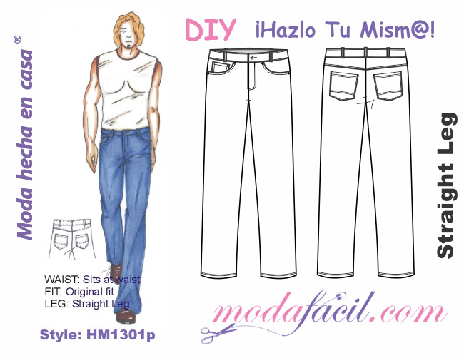 Descarga gratis los patrones del Pantalón de Mezclilla para Hombres ...