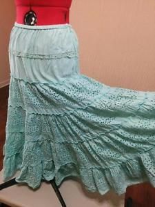"""""""Hippie Peasant Skirt w/ 4 Tiers of Eyelet Lace 100% Cotton Seafoam Cactus Size S """""""