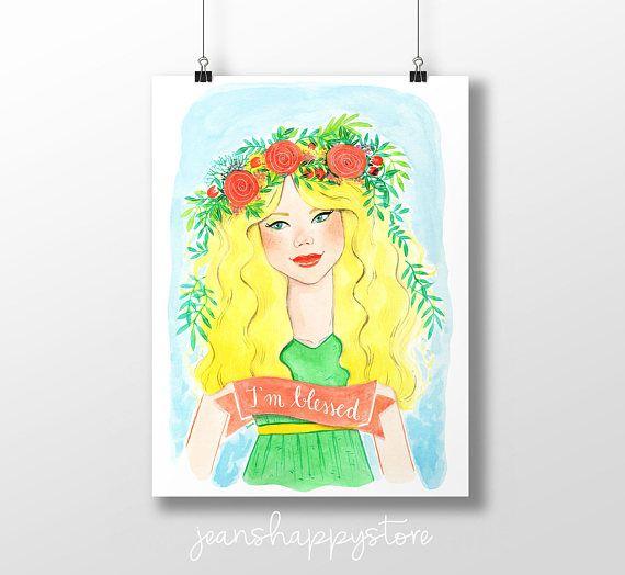 I'm Blessed  Various Dimensions  ART PRINT  Watercolor
