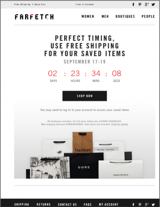 FarFetch Abandoned Cart Email Cart Abandonment Pinterest - Abandoned cart email template