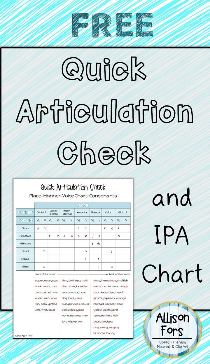 Quick Articulation Check Is For SpeechLanguage Pathologists Who