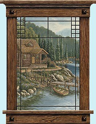 Cabin Scenic Window Peel And Stick Wall Mural   Wall Sticker Outlet
