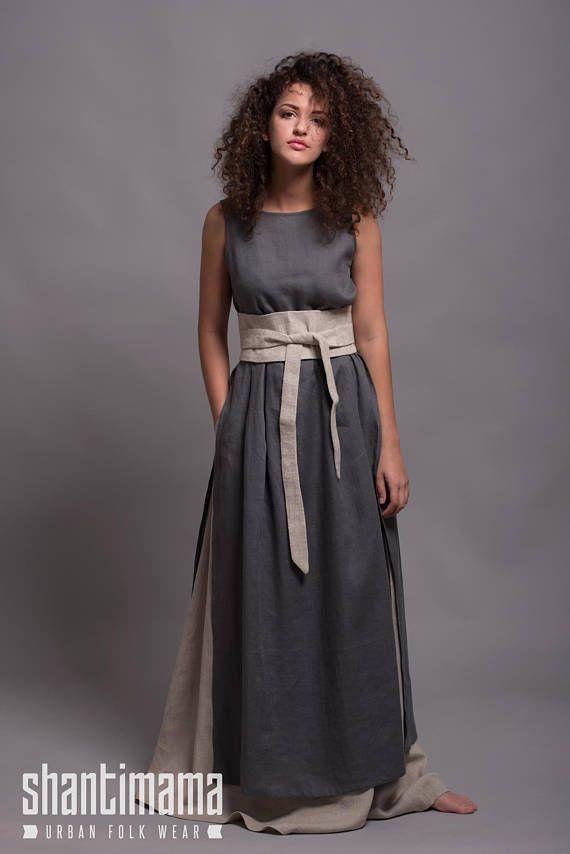 Leinen langen Rock AIRA mit Taschen, 31 Farboptionen, Petit- Plus Size, Leinen Kleidung für Frau, Flachs Kleidung, Lagenlook Leinen Maxi-Rock