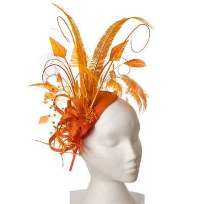 Orange Fascinator Hat Very English