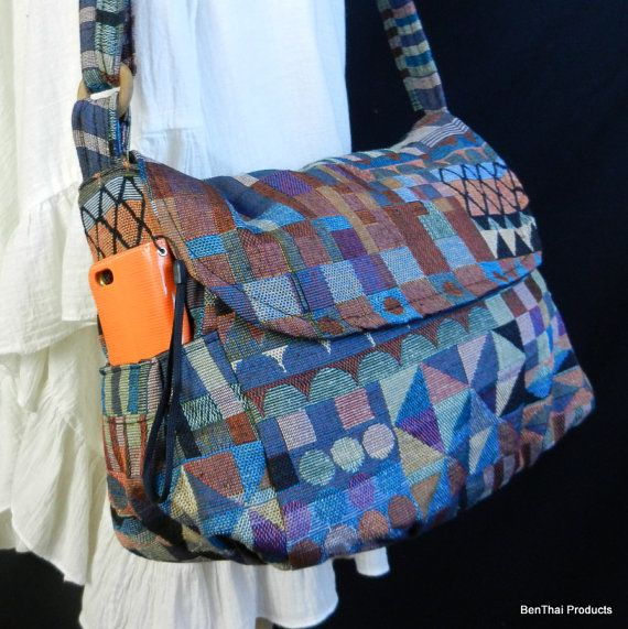 Hippie Hobo Messenger Bag Hmong Camera Purse Handbag Thai Sling Cotton - IKM26 #camerapurse
