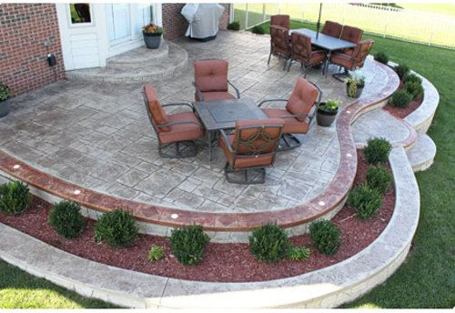 stamped concrete patio with fire pit and hot tub Google Search