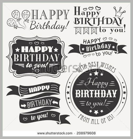 Happy birthday greeting card collection in holiday design retro happy birthday greeting card collection in holiday design retro vintage style typography letters font type vector bookmarktalkfo Choice Image