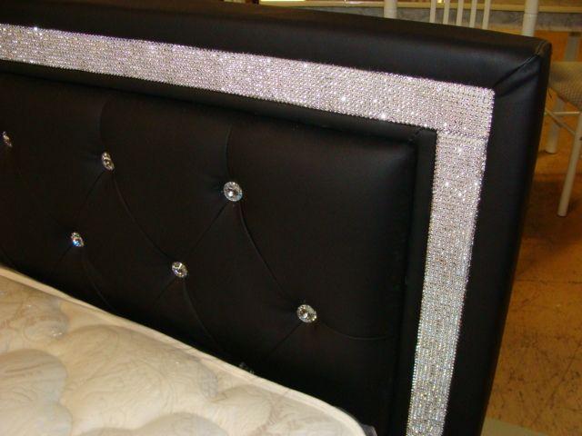 Rhinestone Bed Blk Furniture Bling Bedroom Room Decor