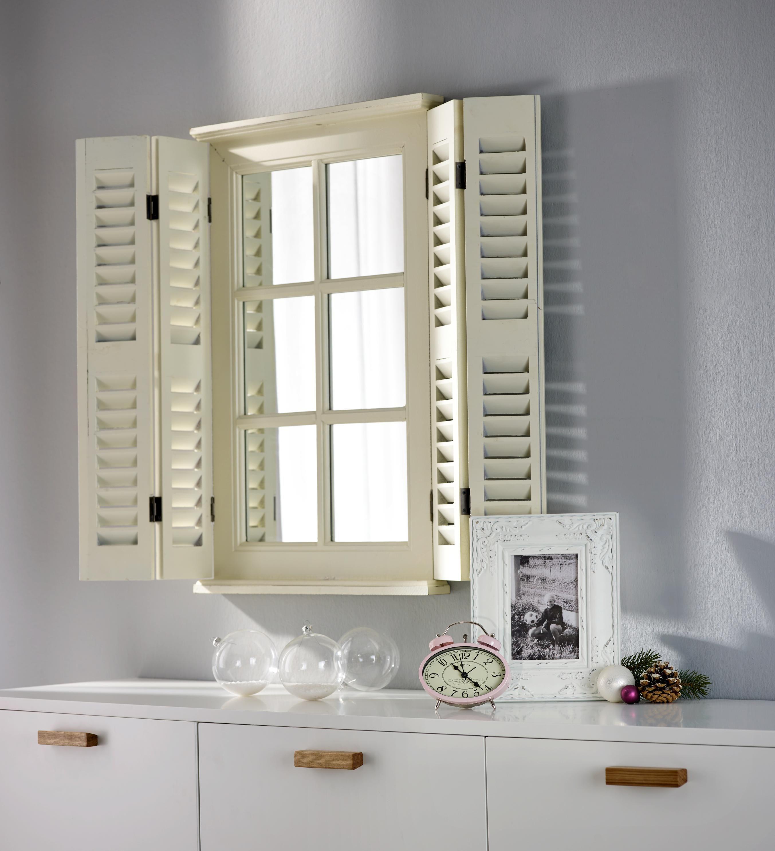 Einfallsreicher Spiegel Mit Fensterladen In Cremefarben Spiegel
