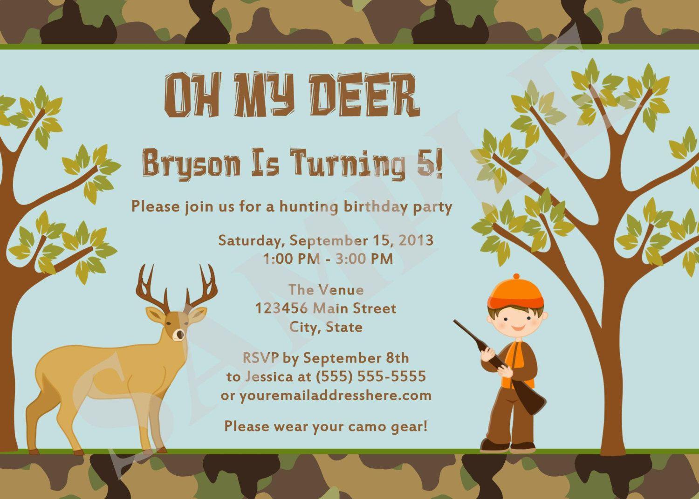 Hunting Camo Deer Birthday Party Invitation Custom by jessica91582 ...