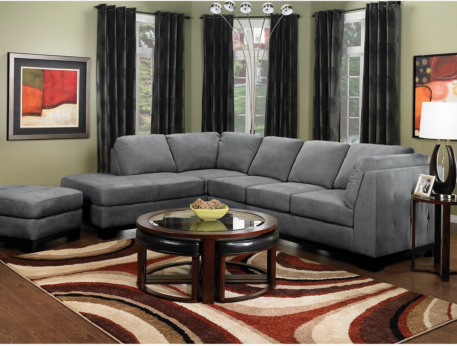 Best Oakdale 3 Piece Microsuede Sectional W Left Facing Chaise 400 x 300
