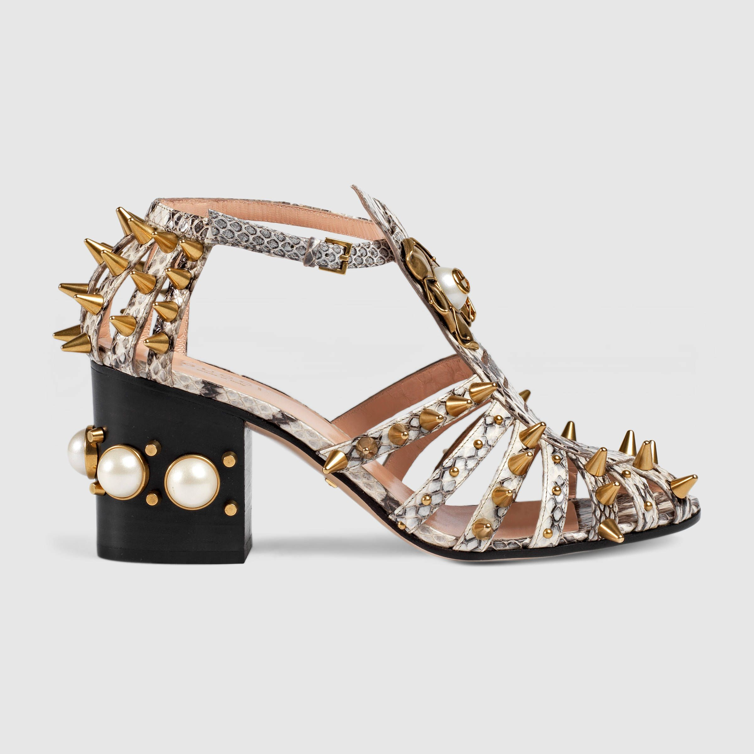 Womens sandals mid heel - Gucci Women Snake Mid Heel Studded Sandal 430436loo009535