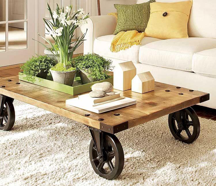 Mesas de centro con ruedas | ZANDRA en 2019 | Mesa de centro madera ...