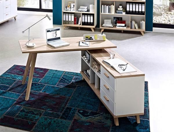 Oslo Germania Contemporary Oak And White Desk With Storage