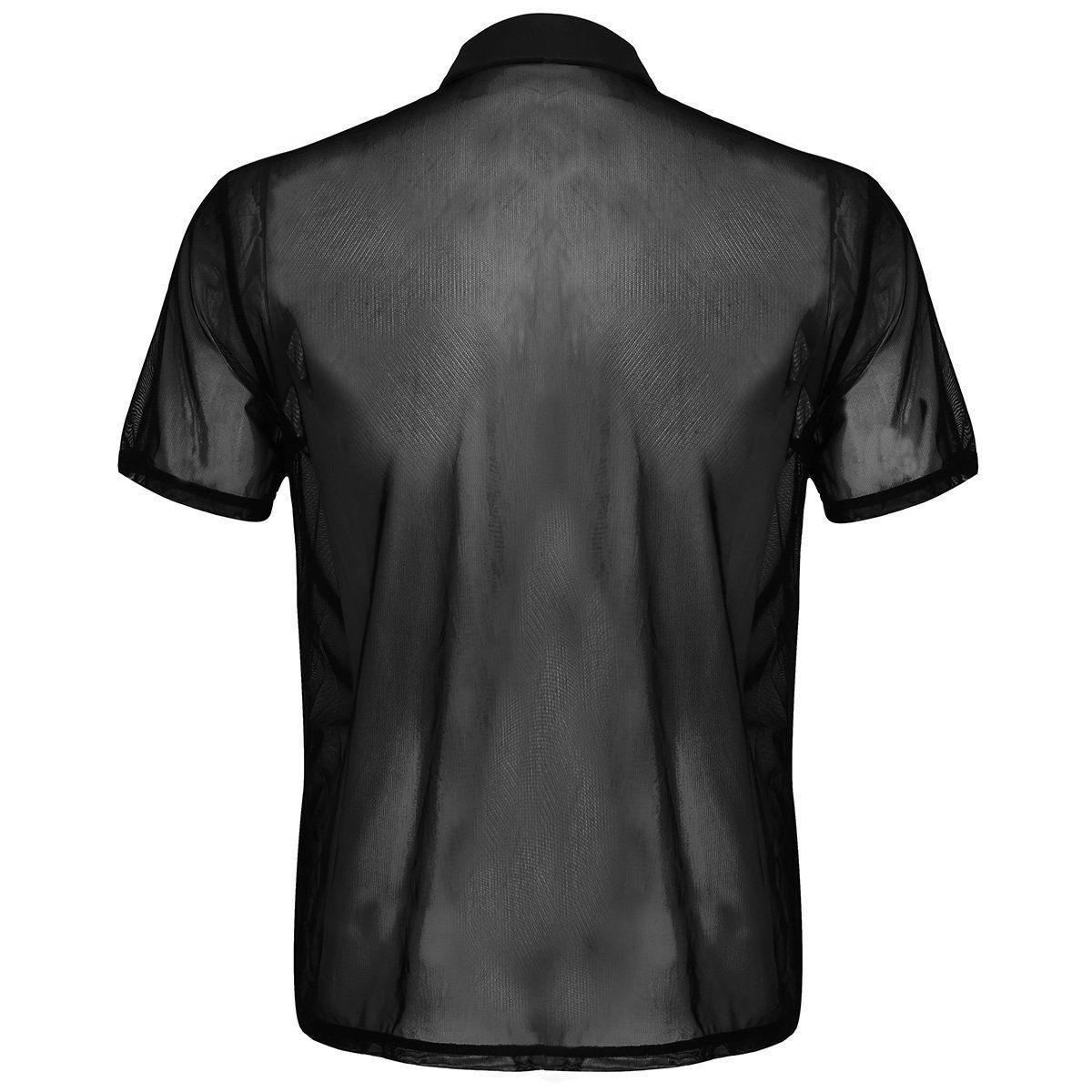 ef14105f4a6d iiniim Mens See Through Shirt Thin Mesh TurnDown Collar Tee Shirt Tops Sexy  Club Wear Black Medium     Want to know more