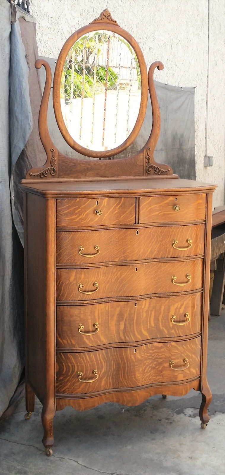 Vtg Tiger Oak American Tall Serpentine Highboy Dresser W Mirror Los Angeles Area Ebay 1 495 California
