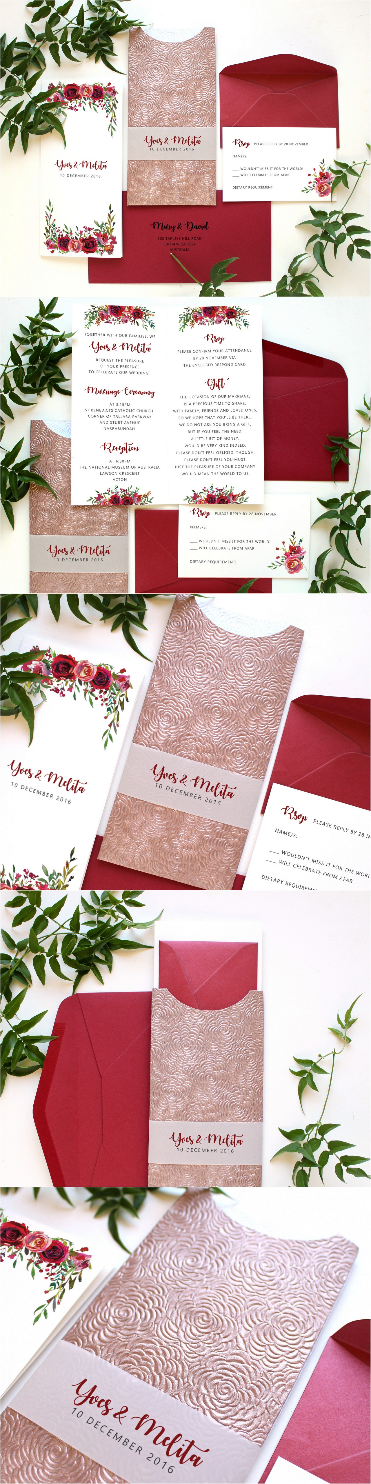 Maroon wedding invitations with beautiful embossed rose pocket by ...