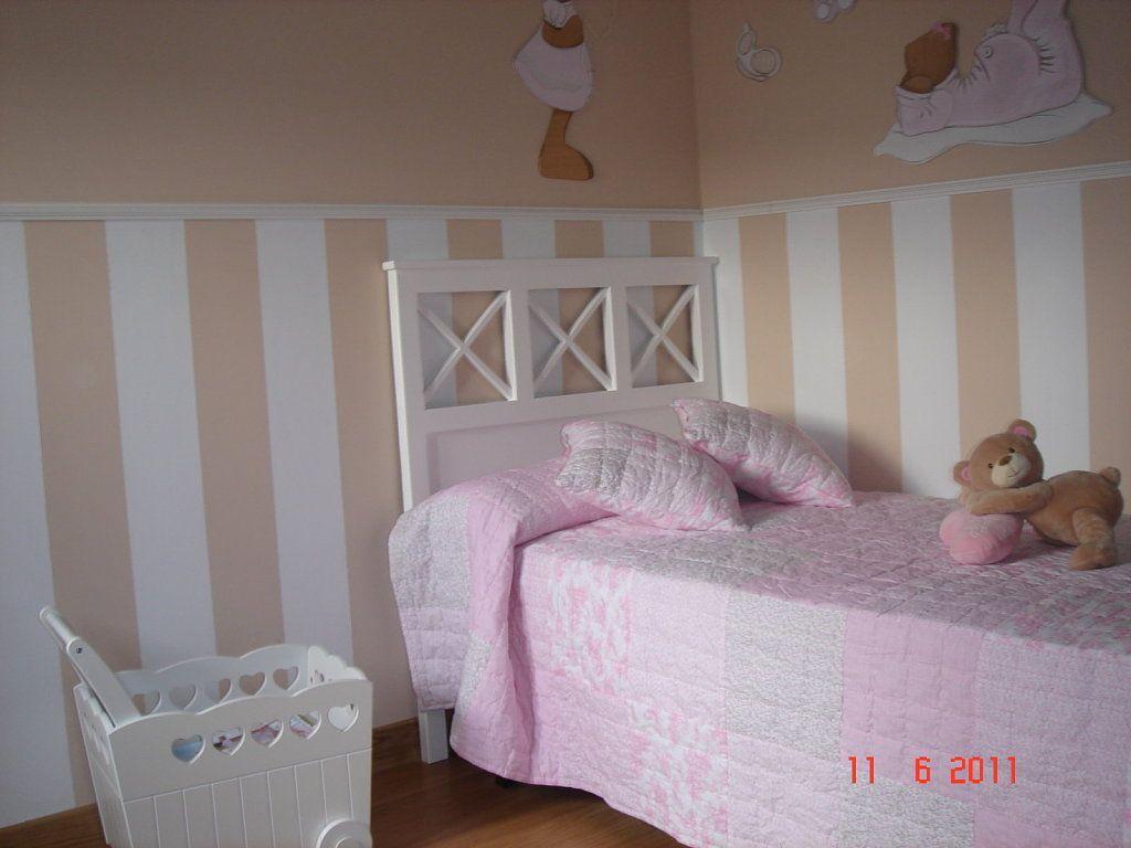 Habitaci n de ni a en verde rosa blanco decorar tu casa - Decorar habitacion nina ...