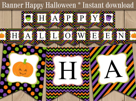 graphic relating to Printable Halloween Banners identify Satisfied Halloween Banner printable. Halloween Get together Birthday