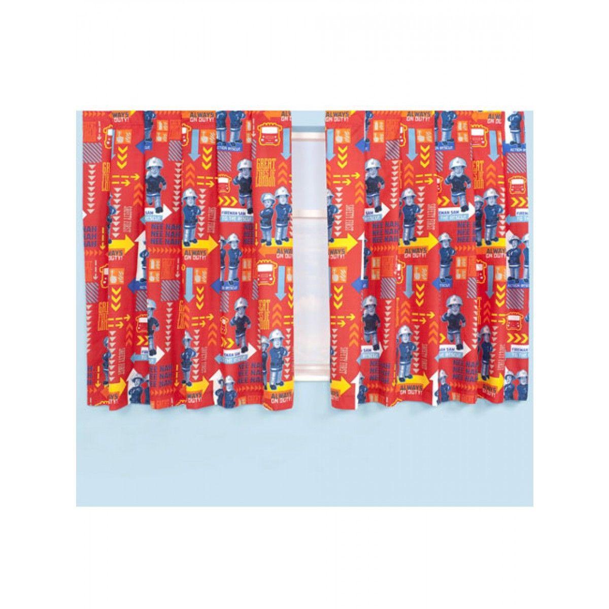 Fireman Sam Duty Boys Blue Red Yellow Green 72 Inch Drop Pencil Pleat Curtains
