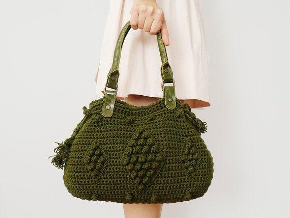 BAG // Khaki Green Shoulder Bag Celebrity Style With by Sudrishta, $99.00