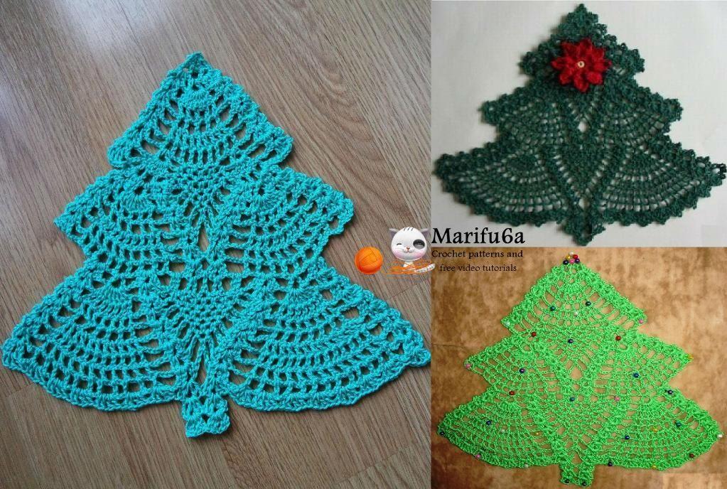 crochet Christmas tree doily hot pad by marifu6a Craftsy