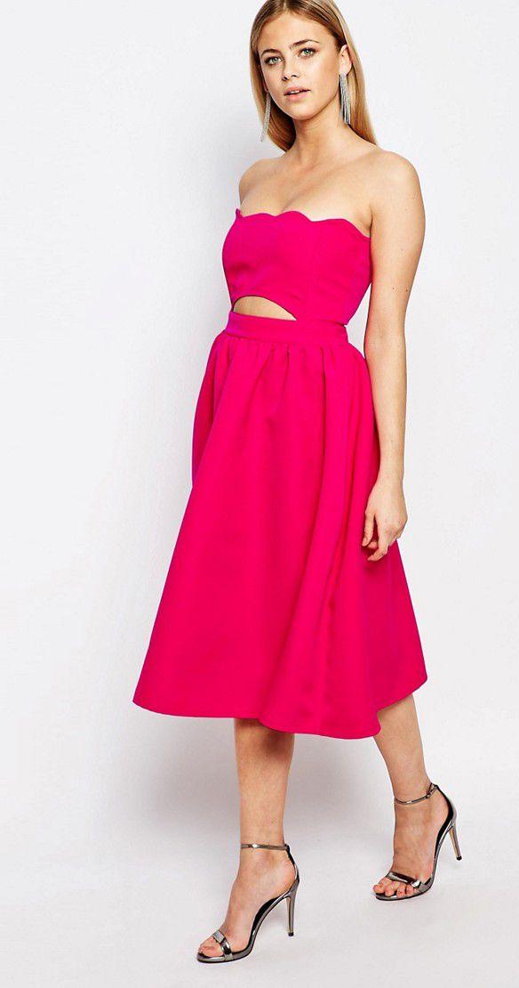 3e1e4de3d1 Sups cute wedding guest hot pink dress.