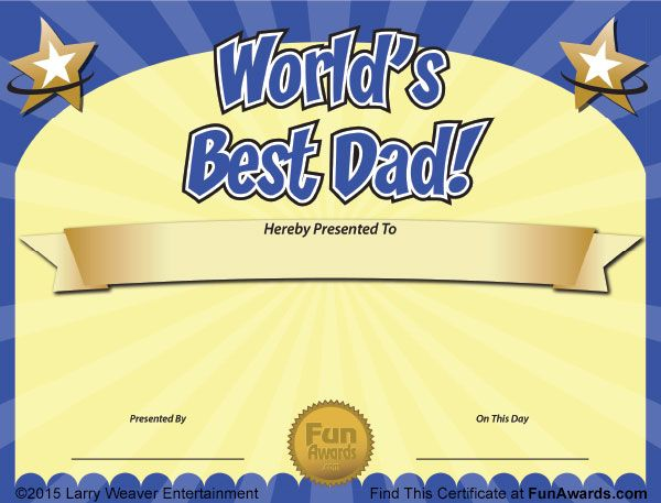 World S Best Dad Father S Day Certificate Free Funny Award Ideas Funny Awards Certificates Worlds Best Dad Certificate Templates