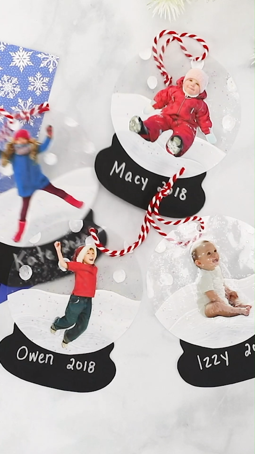 Make these adorable laminated snow globe ornaments with