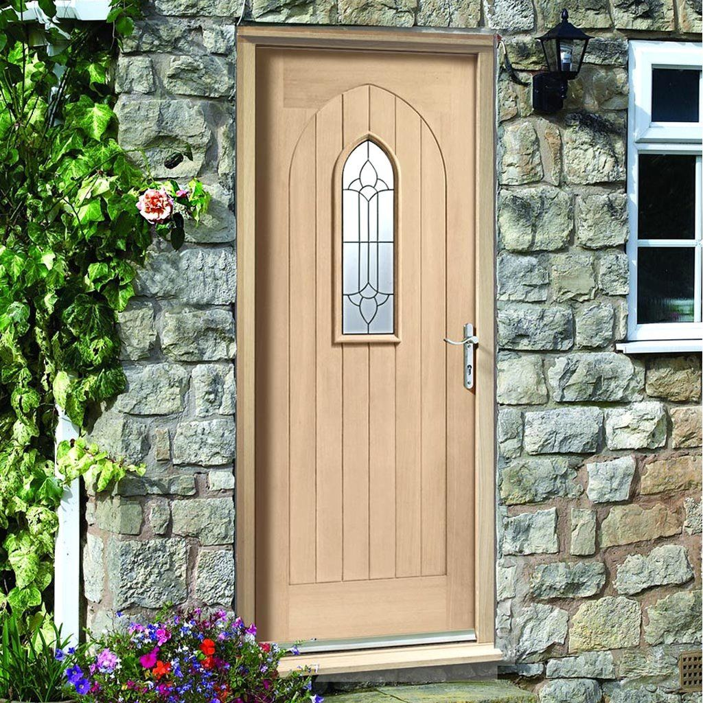 Westminster Exterior Oak Door And Frame Set With Fittings And Black Caming  Double Glazing