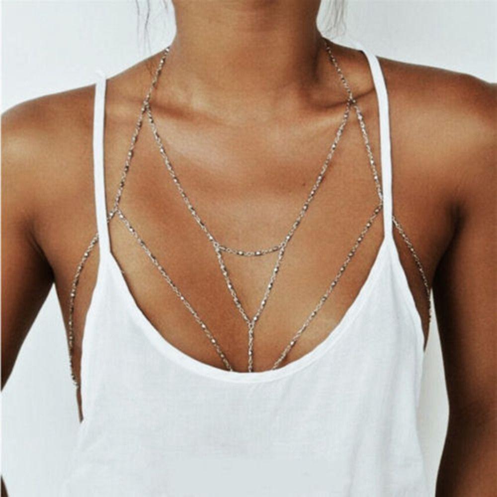 0d0578299e Vintage Gold Silver Plated Body Chain Multilayer Sexy Beach Bikini Harness  Tassel Necklace Women Bralette Jewelry