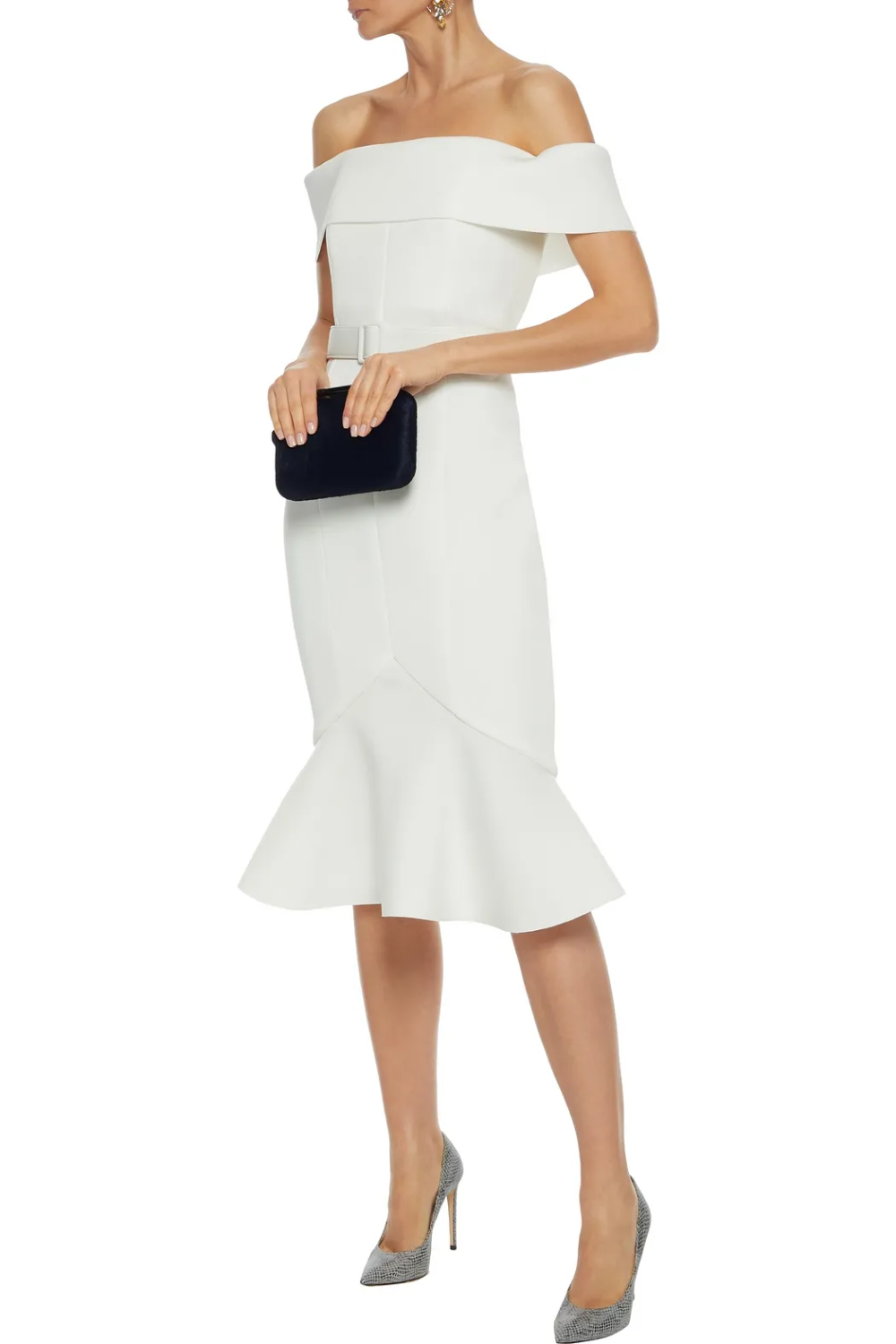 White Off The Shoulder Belted Scuba Dress Sale Up To 70 Off The Outnet Badgley Mischka In 2021 Scuba Dress Knee Length Dress Dresses [ 1500 x 1000 Pixel ]