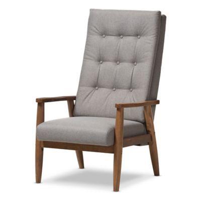 Light Beige Wholesale Interiors BBT5179 Light Beige RC Baxton Studio Agatha Mid-Century Modern Fabric Upholstered Button-Tufted Rocking Chair