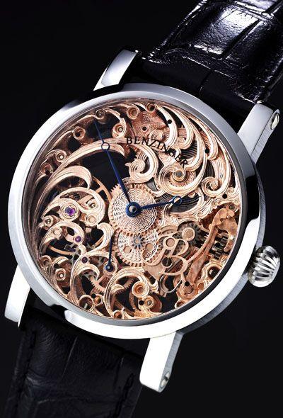 Benzinger Full Skeleton Floral Watch